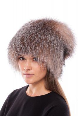 Megzta lapės kailio kepurė Pinokis, gelsvinta frost