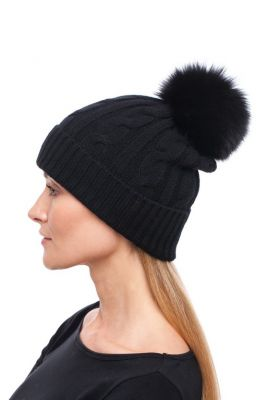 Megzta kašmyro kepurė su bumbulu, juoda/juoda