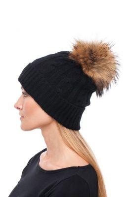 Megzta kašmyro kepurė su bumbulu, juoda/usūrinis