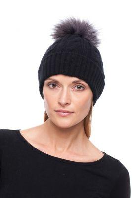Megzta kašmyro kepurė su bumbulu, juoda/juodsidabrė