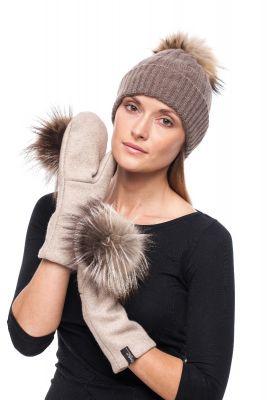 Derinys kašmyro kepurės ir vilnonių pirštinių  (gelsvas)