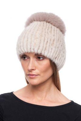 Megzta audinės kailio kepurė plačiu bumbulu, gelsva/gelsva