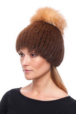 Megzta audinės kailio kepurė Čipolinas, ruda/gelsvas frost