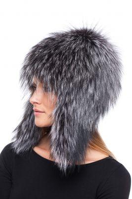 Megzta lapės kailio ausinė kepurė, juodsidabrė