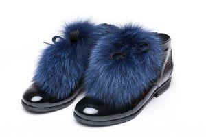 Batų aksesuaras iš lapės kailio mėlynas