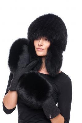 Megzta lapės kailio ausinė kepurė, juoda