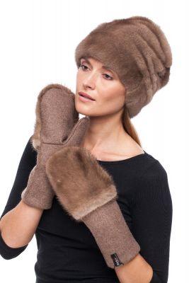 Derinys audinės kailio kepurės ir tekstilinių pirštinių