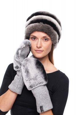 Derinys  vilnonių pirštinių ir kepurės iš natūralaus REX kailio (pilkas)