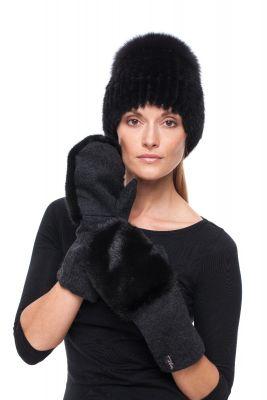 Derinys audinės kailio kepurės ir vilnonių pirštinių  (juodas)