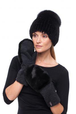Megzta audinės kailio kepurė plačiu bumbulu juoda/juoda