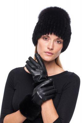 Derinys audinės kailio kepurės ir odinių pirštinių  (juodas)