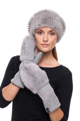 Derinys audinės kailio kepurės ir vilnonių pirštinių  (pilkas)