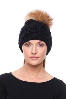 Megzta kepurė su bumbulu juoda/usūrinis