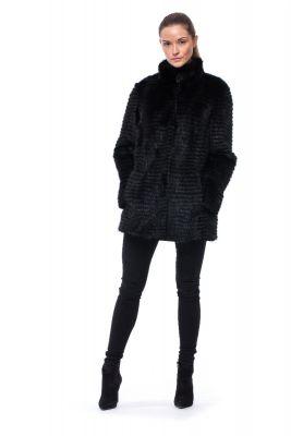 Audinės kailio puskailiniai juodos spalvos