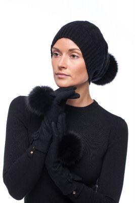 Derinys kašmyro kepurės ir vilnonių pirštinių (juodas)