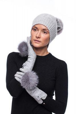 Derinys kašmyro kepurės ir vilnonių pirštinių (pilkas)