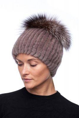 Megzta audinės kailio kepurė plačiu bumbulu, gelsva/gelsvas frost
