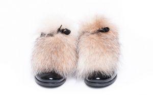 Batų aksesuaras iš lapės kailio gelsvo frost