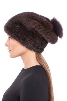 Megzta audinės kailio kepurė Pinokis, ruda