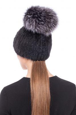 Megzta audinės kailio kepurė Čipolinas, juoda/juodsidabrė