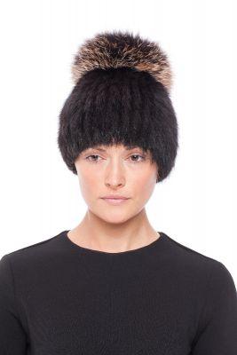 Megzta audinės kailio kepurė Čipolinas, juoda/gelsvas frost