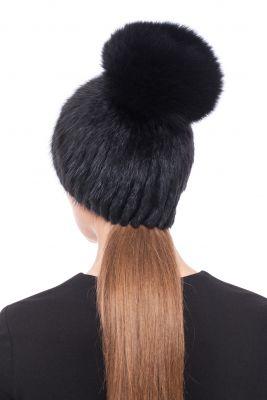 Megzta audinės kailio kepurė Čipolinas, juoda/juoda