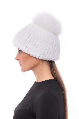 Megzta audinės kailio kepurė su bumbulu, balta/balta