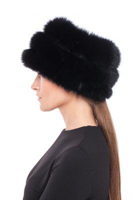 Lapės kailio kepurė Tabletė juoda