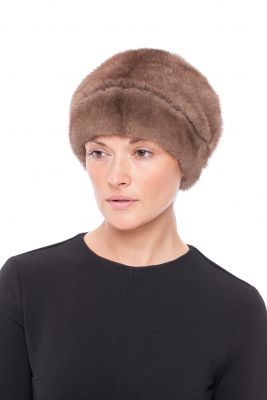 Audinės kailio kepurė su gėle, ruda