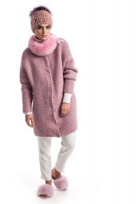 Rankų darbo vilnos megztinis su rožinės sp. lapės apykakle
