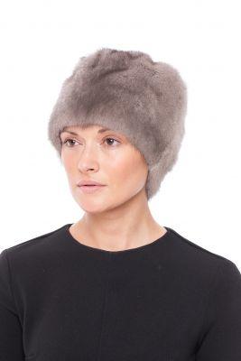 Audinės kailio kepurė Gėlytė, pilka