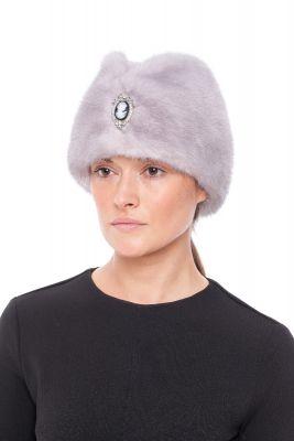 Audinės kailio kepurė Pilotė, pilka
