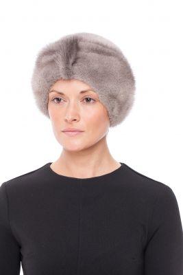 Audinės kailio kepurė Turbanas 2, pilkos sapphire spalvos