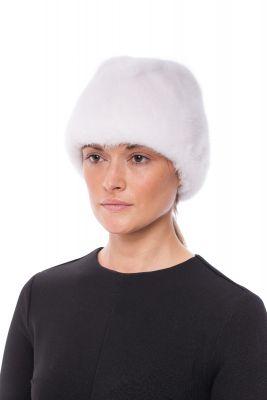 Audinės kailio kepurė Pilotė, balta