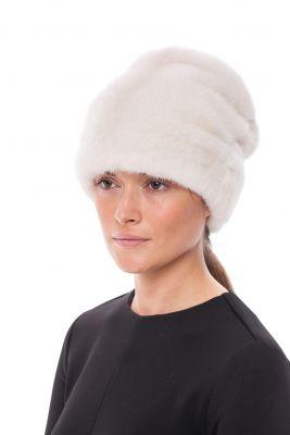 Audinės kailio kepurė Cilindras, balta