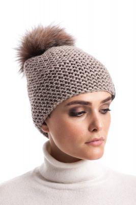 Megzta vilnonė kepurė su bumbulu šviesiai gelsvu